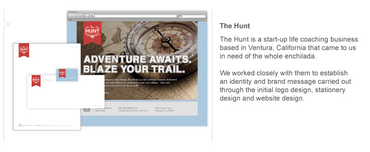 The Hunt is a start-up life coaching business based in Ventura, CA that came to us in need of the whole identity and branding package.